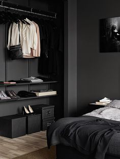 This room is a contrast design because it uses white and black to contrast against each other. 'Minimal Interior Design Inspiration' is a weekly showcase of some of the most perfectly minimal interior design examples that we've found around the web - all Closet Bedroom, Home Bedroom, Modern Bedroom, Neutral Bedrooms, Closet Space, Dark Bedrooms, Bedroom Ideas, Master Bedroom, Trendy Bedroom