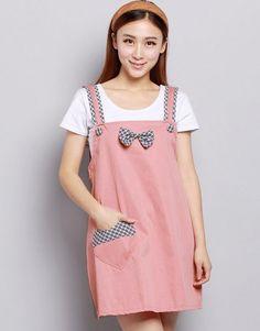 Radiation-free Dress Colour: Peach/check pattern pocket