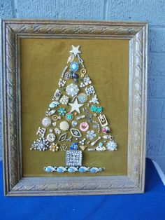 Vintage Costume Jewelry Christmas Tree Framed Art!!