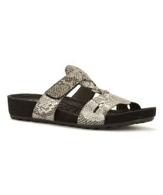 Black & Silver Snake-Embossed Penny Leather Slide