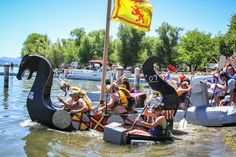 About 20 boats participated in the fifth annual Cardboard and Duct Tape Regatta, held Wednesday at Library Park in Lakeport. Photo by Nathan DeHart, nathandehartphotography.com