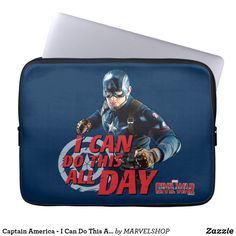 Shop Captain America - I Can Do This All Day Laptop Sleeve created by MARVELSHOP. Neoprene Laptop Sleeve, Laptop Sleeves, Team Captain America, Computer Sleeve, Captain America Civil War, Custom Laptop, Front Bottoms, Marvel Movies, I Can