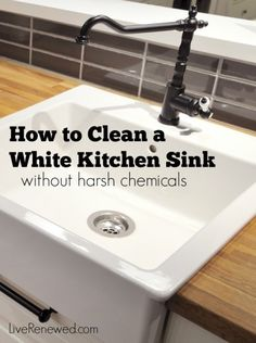 Is your white kitchen sink dirty, dingy, and stained? This method will get it bright white and sparkly clean again without harsh chemicals or a lot of work!