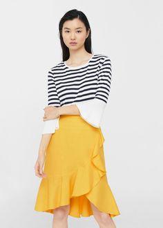 Suknja od mješavine lana s volanima - Žene Spring Shorts Outfits, Winter Skirt Outfit, Latest Outfits, Urban Outfits, Moda Mango, Denim Shirt Style, Plus Size Fashion Tips, Style Casual, Culottes