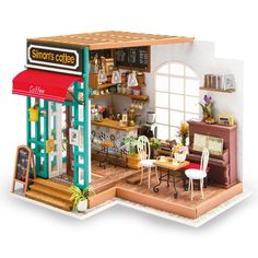 LSQR DIY Simon's Coffee House with Furnitures Children Adult Miniature Wooden Doll House Model Building Kits Dollhouse Toys for Children Gifts,Colorfu Dollhouse Toys, Wooden Dollhouse, Wooden Dolls, Dollhouse Miniatures, Homemade Dollhouse, Kit Homes, Miniature Houses, Miniature Dolls, Wooden Diy