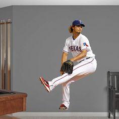 Yu Darvish REAL.BIG. Fathead Wall Graphic | Texas Rangers Wall Decal | Sports Decor | Baseball Bedroom/Man Cave/Nursery