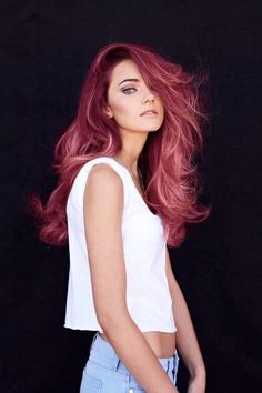 This is how I will do my hair once it's long again! Love the deep wine red that fades to the pinkish color