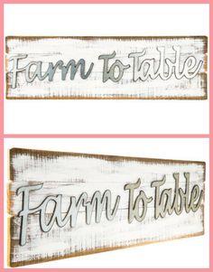 Farm to Table | Farmhouse Style Sign | Fixer Upper | Home Decor | Wall Art | Family #Ad