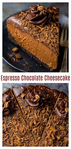 No-Bake Espresso Chocolate Cheesecake - Baker by Nature kuchen ostern rezepte torten cakes desserts recipes baking baking baking No Bake Chocolate Cheesecake, Brownie Desserts, Oreo Dessert, Mini Desserts, No Bake Desserts, Chocolate Cake, Cheesecake Bites, Unbaked Cheesecake, Healthy Cheesecake Recipes