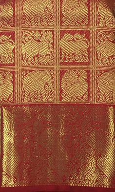 Classic kumkum red saree with stunning kanchi buttas housed in 3 inch zari squares Red Saree, Projects To Try, Jewellery, Traditional, Quilts, Blanket, Bridal, Rugs, Classic