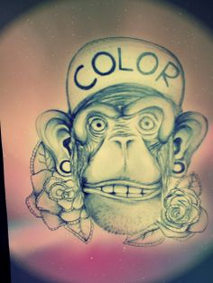 #monkey #color #galaxy #roses #pencil #illustration