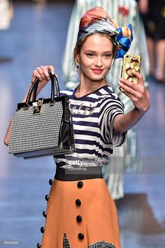 A model walks the runway at the Dolce & Gabbana Spring Summer 2016 fashion show during Milan Fashion Week on September 27, 2015 in Milan, Italy.