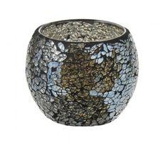 Windlicht+Mosaik+Mia,+grau,+12+cm+-+Dieses+dekorative+Windlicht+aus+Glas+sorgt+für+ein+stimmungsvolles+Lichterspiel.Material:+GlasMarke:+NANU-NANA