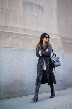 By Natasha Alexandrou Styling a pair of over-the-knee boots might seem a little daunting at first, but these bloggers show just how easy it can be. Match suede boots with a mini skirt, and balance the