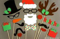 Christmas Photo Booth Requisiten set 17 Stück GLITTER