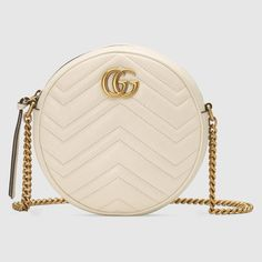 GG Marmont mini round shoulder bag in White matelassé chevron leather with heart Fall Handbags, Burberry Handbags, Chanel Handbags, Designer Handbags, Chanel Bags, Handbags Online, Chain Shoulder Bag, Leather Shoulder Bag, Shoulder Strap
