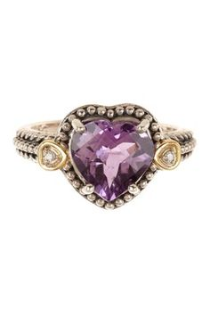 Diamond & Amethyst Two-Tone Heart Ring