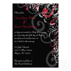 black and red wedding invitations | Black, White and Red Wedding Invitation from Zazzle.com