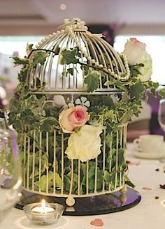 Greenery in vintage birdcage