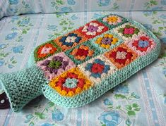 granny square hot water bottle ~ cuteness!