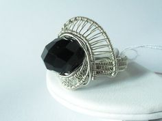 chunky wire wrapped beaded silver ring by 2wired on Etsy, $50.00
