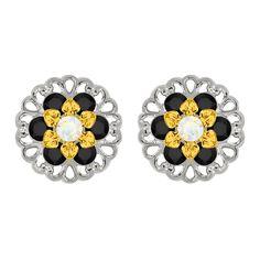 Lucia Costin Sterling Silver White/ Black Earrings