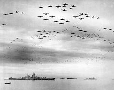 Formation of U.S. planes over USS Missouri and Tokyo Bay celebrating the Japanese surrender, September 2, 1945. #WW2