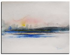 Pink and Blue Landscape Painting 10X8 Original by WatercolorsTR