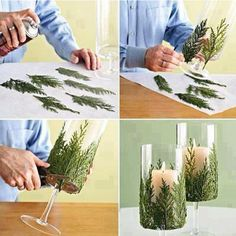 Pine branch glass decor