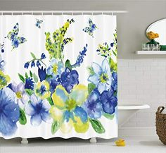 Ambesonne Watercolor Flower Shower Curtain, Motley Floret Motifs with Splash Anemone Iris Revival of Nature Theme, Cloth Fabric Bathroom Decor Set with Hooks, Long Extra, Blue Yellow Flower Shower Curtain, Tree Shower Curtains, Shower Curtain Sizes, Striped Shower Curtains, Nature Artwork, Lace Print, Home Decor Fabric, Bathroom Sets, Watercolor Flowers