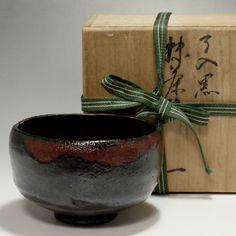 KURO RAKU CHAWAN Antique Japanese Black Pottery Tea Bowl w/box #2139 - ChanoYu online shop