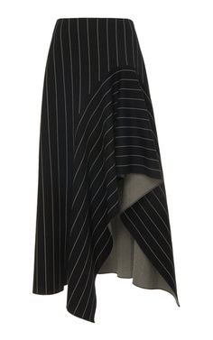 Asymmetric Pinstripe Cotton-Blend Midi Skirt by Oscar de la Renta Mode Outfits, Skirt Outfits, Dress Skirt, Casual Outfits, Sewing Clothes, Diy Clothes, Modest Fashion, Fashion Dresses, Vintage Outfits