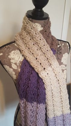 Lilac Frosting Cable Scarf