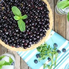 Buttery shortbread crust with walnuts, slightly sweet creamy mascarpone, fresh #blueberries w/a touch of sugar & a squeeze of lemon.  Delicious dessert!  http://tasteandsee.com