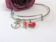 Expandable Bangle Bracelet Anchor  heart  by ExpressionsStamped