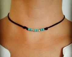 Boho gargantilla collar piedra preciosa por LeMoonChokers en Etsy