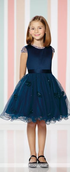 Joan Calabrese for Mon Cheri - Fall 2016 - Style No. 216318 - satin and tulle navy blue flower girl dress with cap sleeves and wire edged hem