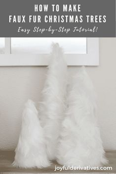 DIY Faux Fur Christmas Trees - Joyful Derivatives - DIY Faux Fur Christmas Trees / Looking for easy and cheap diy christmas decor that looks elegant or - Cheap Christmas Trees, Diy Christmas Decorations For Home, White Christmas, Christmas Diy, Diy Home Decor, Christmas Bedroom, Modern Christmas, Christmas Place, Christmas Mantles