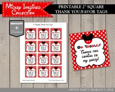INSTANT DOWNLOAD Mouse 2 Inch Square Thank by DivinePartyDesign