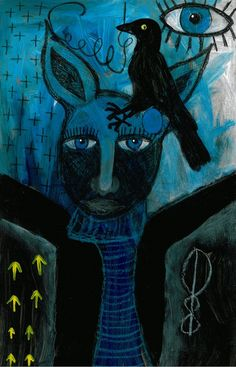 Tracy Algar - dark bird mixed media on masonite