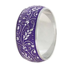 Purple Metal Enamel Engraved Indian Bangle Bracelet  Handmade By Artisan Shalin
