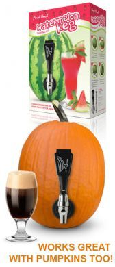 Use this kit to turn an everyday watermelon or pumpkin into a drink-dispensing keg. You'll be a hit at barbecues, picnics and other occasions. Watermelon Keg, Keg Tap, Spooky Decor, Cocktails, Drinks, Stocking Stuffers, Barbecue, Holiday Recipes, Kit