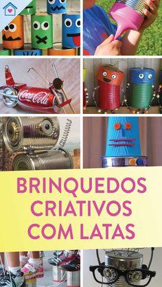 Brinquedos com reciclagem de latas - Dicas Práticas Tin Can Crafts, Water Bottle, Baseball Cards, Canning, Metal, Naruto, Handmade Toys, Aluminum Can Crafts, Kids Playing