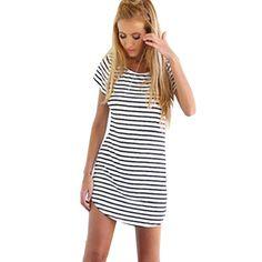 Cooles Sommerkleid! Rundhalsausschnitt Kurzarm gestreift T-Shirt Minikleid  Sommerkleid Frauen Strand Kleid, Aff 9df3f09bcb