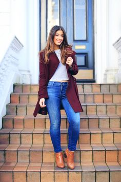 Mimi Ikonn | Blue Jeans, Grey Crop Top, Burgundy Coat, Camel Booties | Fall, Winter Outfit, OOTD