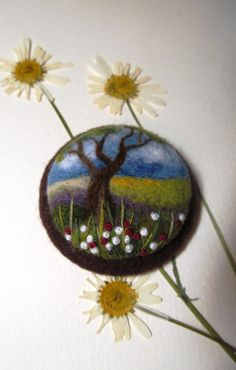 Felt brooch Needle felt brooch with embroidery от FeltAccessories