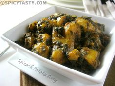 Aloo Palak Curry - Spinach Potato Dry Curry | Spicy Tasty