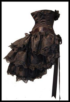 Gothic Burlesque Steampunk Bustle Skirt
