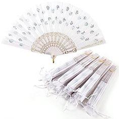 20 x Hochzeit Wedding Klappfächer Stofffächer Handfächer Taschenfächer Sommer