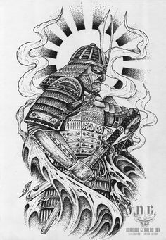 Samurai - Tattoo Design on Behance Japanese Tattoo Art, Japanese Tattoo Designs, Japanese Sleeve Tattoos, Japanese Art, Japanese Dragon, Samurai Maske Tattoo, Samurai Warrior Tattoo, Manga Samurai, Samurai Art